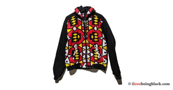 Colorful African print full zip jacket w/ hood
