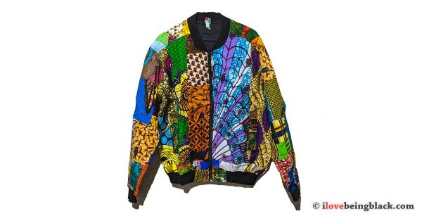 Colorful African print full zip jacket